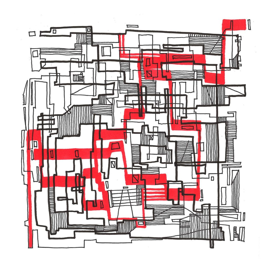 Line composition with red